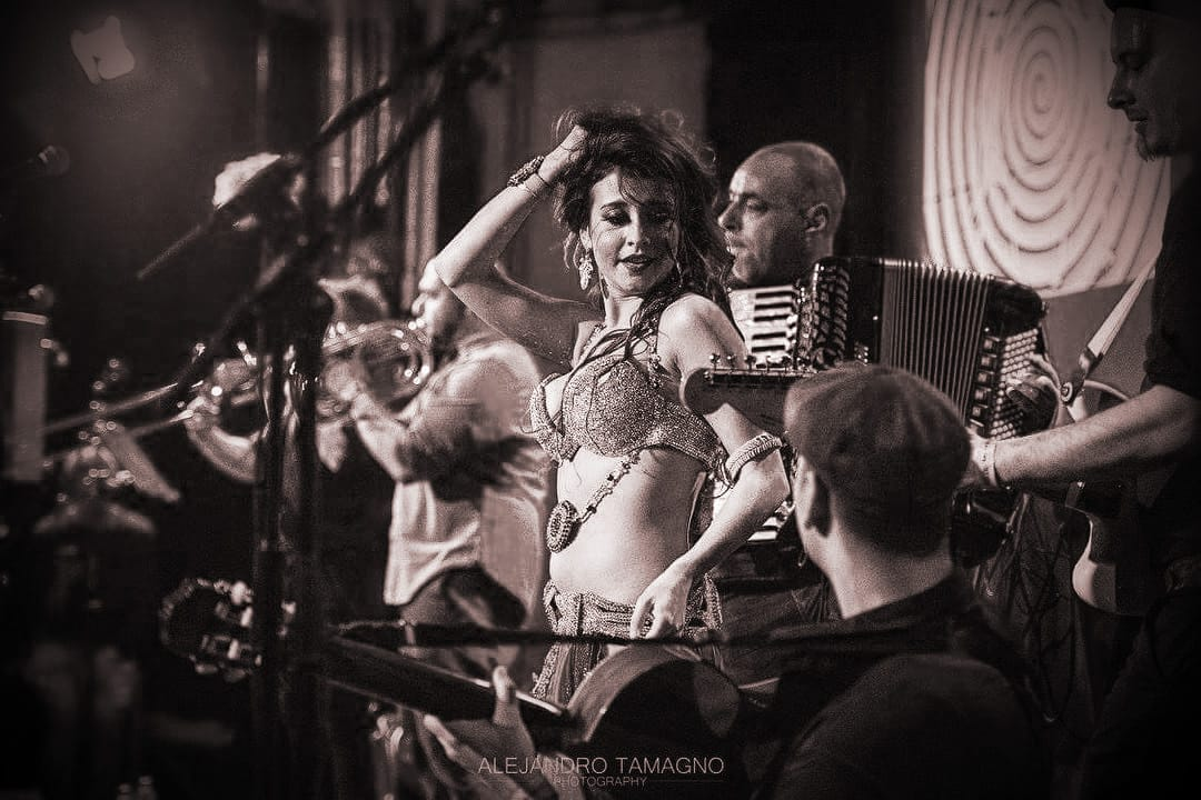 Katie Alyce Belly Dancer London performing with Gypsy Hill at the Rix Mix Centre Bethnal Green